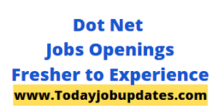 .Net (DOT NET) Jobs Openings For Fresher to Experience| 12th Aug 2020