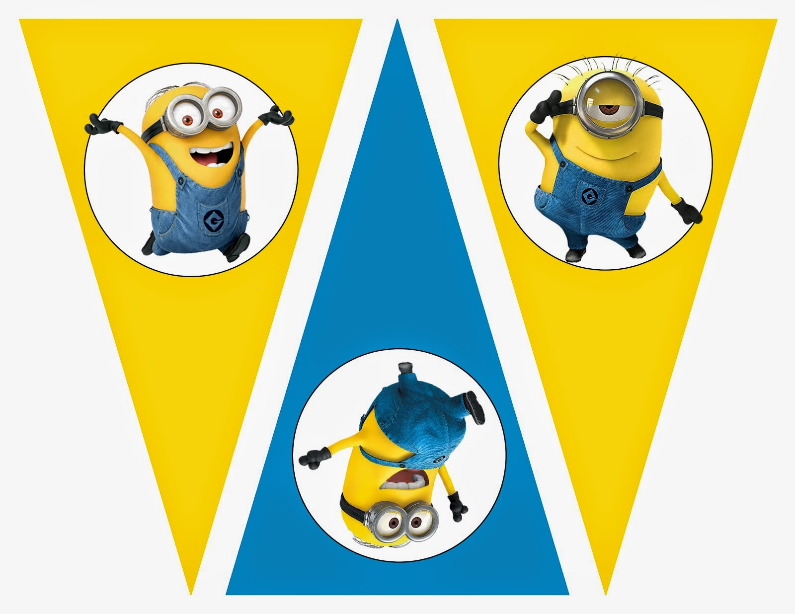 graphic about Minions Logo Printable called Minions: Cost-free Printable Bunting, Labels and Toppers. - Oh My