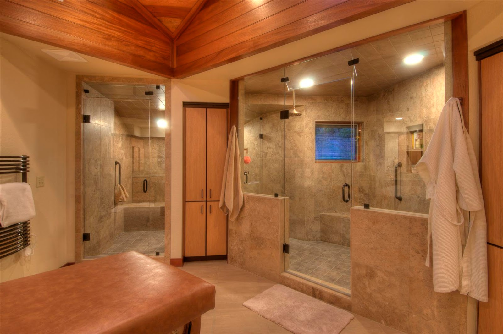 Master Bathroom With Double Glass Walk In Shower With Adorable Wall And Floor! Home Decor