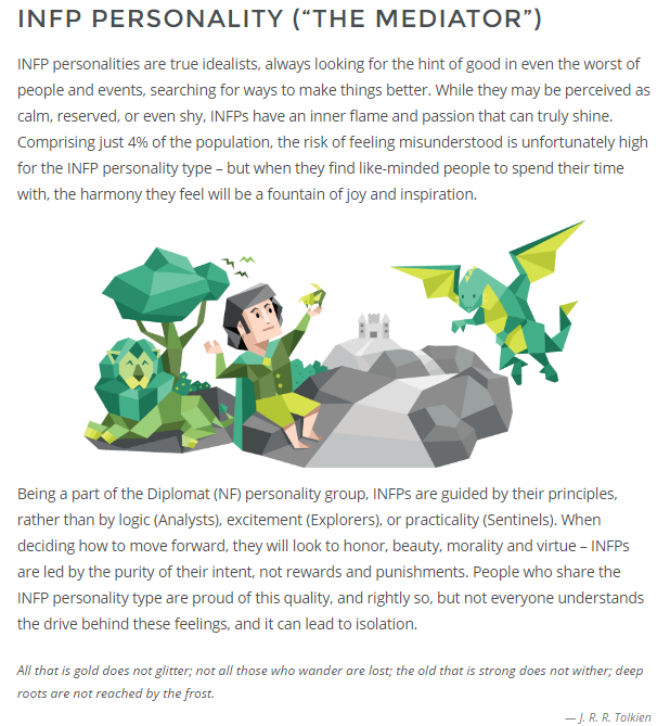 description of INFP-T personality