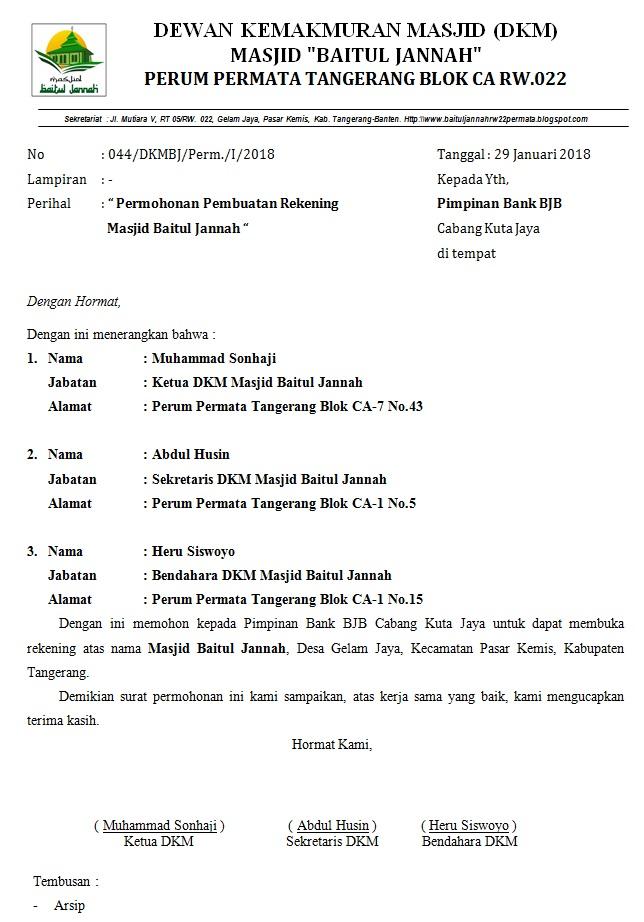 Masjid Baitul Jannah Rw 022 Perum Permata Tangerang Surat Permohonan Pembuatan Rekening Bank Bjb
