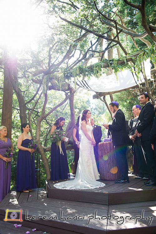 The gorgeous venue, the setting sun and the beautiful couple during the ceremony at Pine Rose Cabins