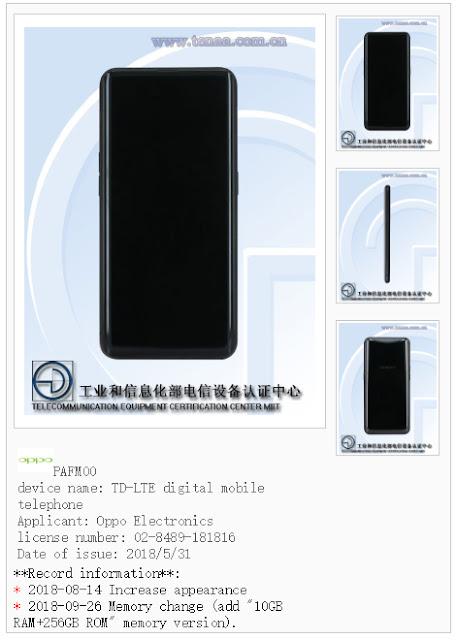 Muncul Smartphone Pertama RAM 10GB dari Oppo Find X di TENAA