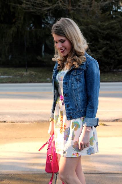 floral dress, pink bag, pink heels, denim jacket