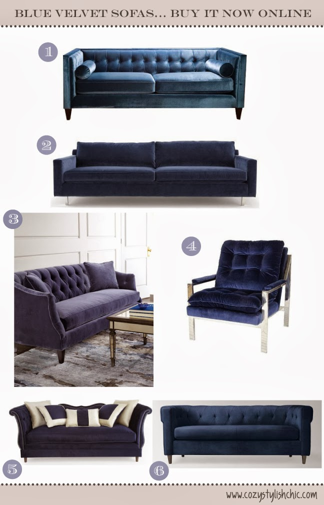 blue velvet sofas available online curated by Cozy•Stylish•Chic