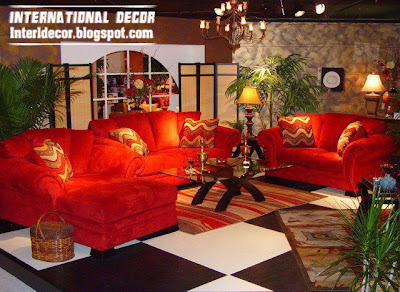 red sofas furniture with romantic lighting