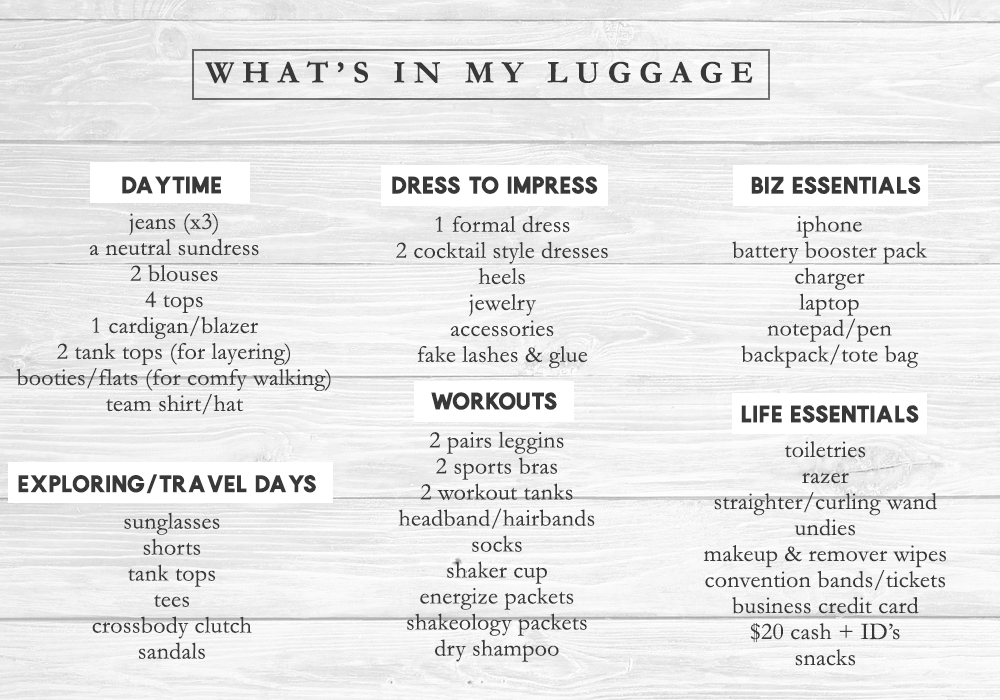 packing list for annual convention