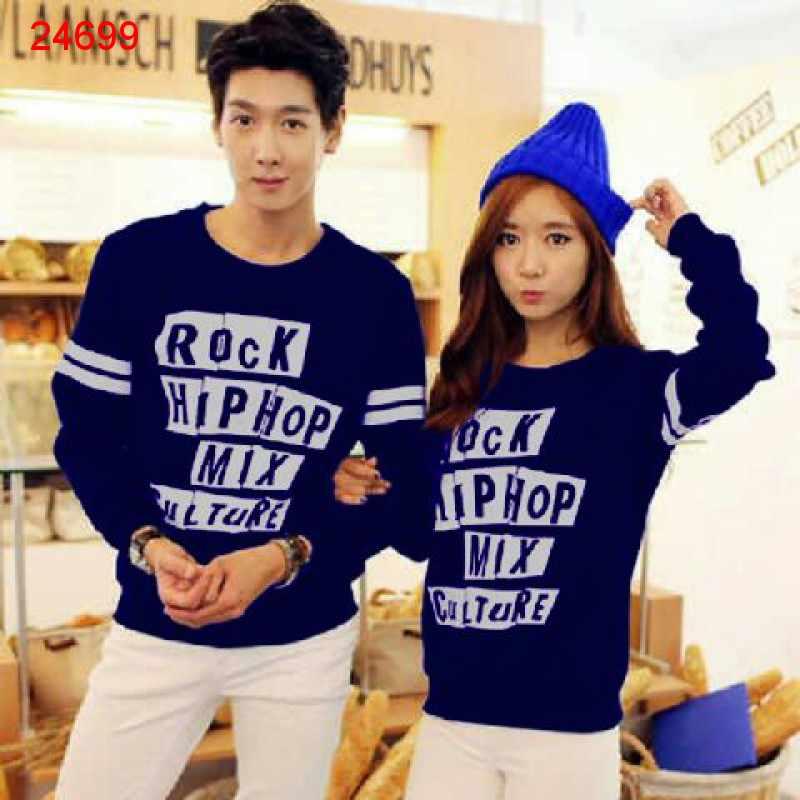 Jual Sweater Couple Sweater Rock Hip Hop Navy - 24699