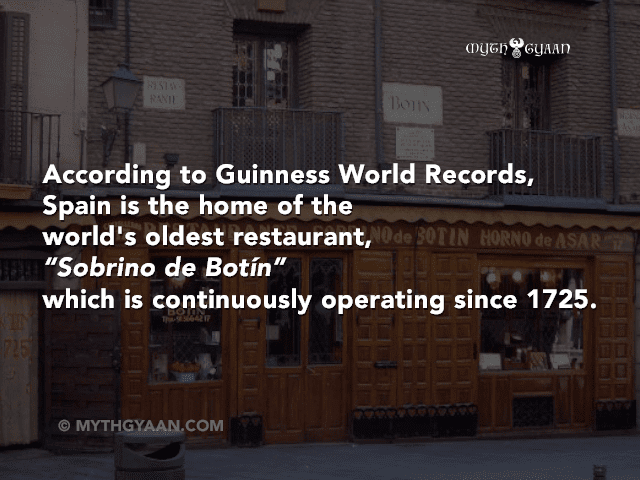 "According to Guinness World Records, Spain is also the home of the world's oldest restaurant, ""Sobrino de Botín"" which is continuously operating since 1725. It is located in Madrid, the capital of Spain."