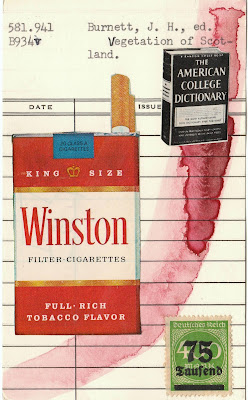 winston cigarette pack postage stamp american college dictionary library card mail art Fluxus Dada Collage
