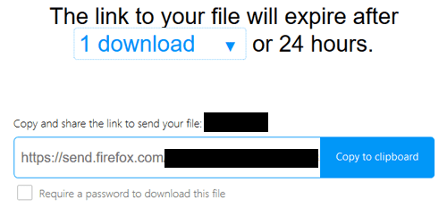 Send File using Firefox Send