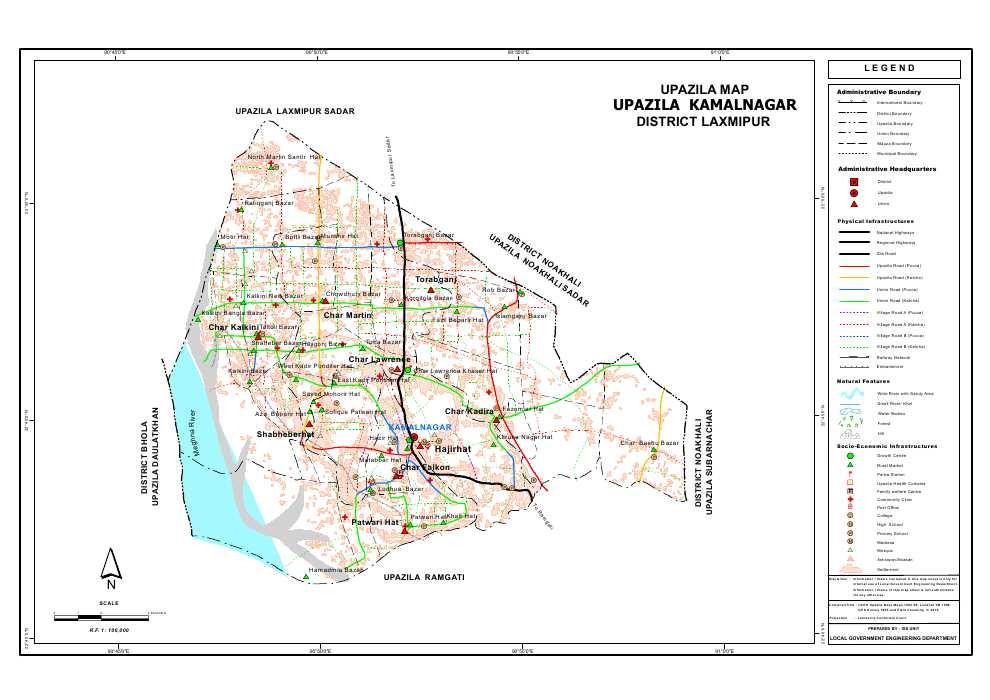 Kamalnagar Upazila Map Lakshmipur District Bangladesh