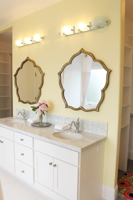 Home tour: Yellow bathroom paint color