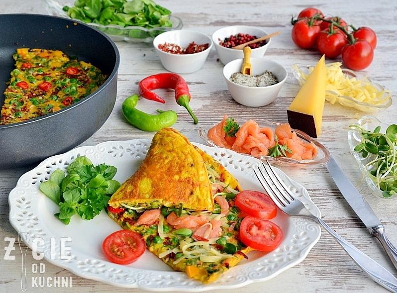 poltino, omlet, jak zrobic omlet, omlet z zielonym groszkiem