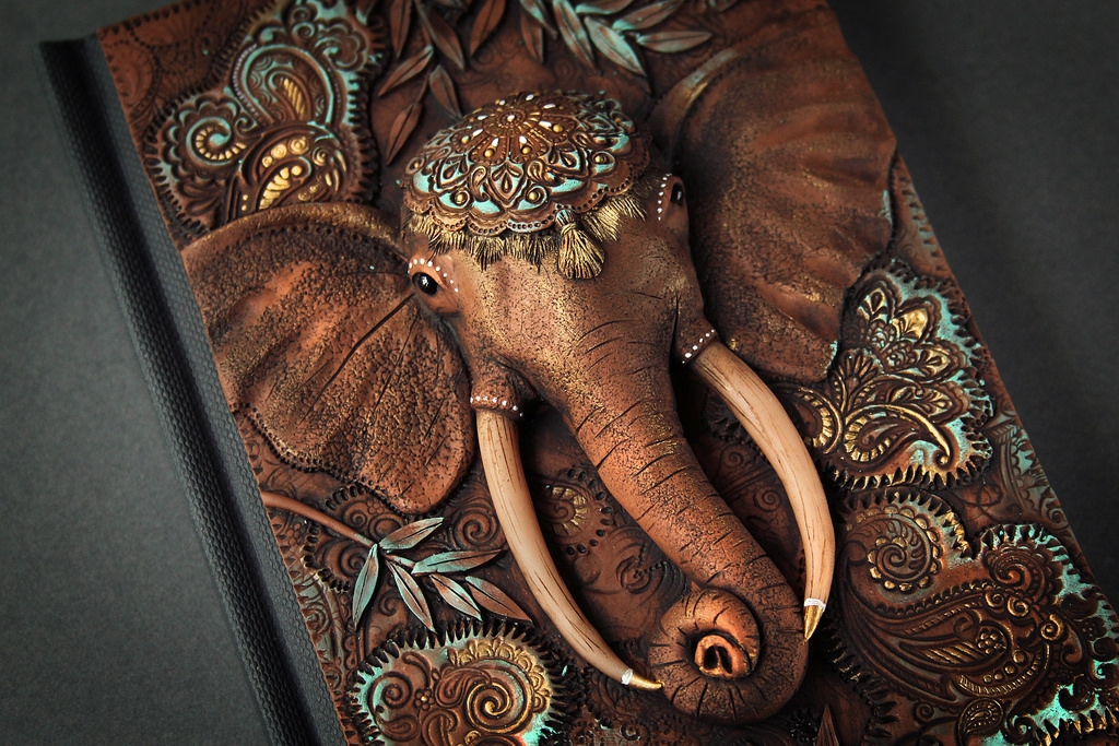 05-Majestic-Elephant-detail-Aniko-Kolesnikova-Polymer-Clay-Book-Diary-and-Electronics-Cover-www-designstack-co
