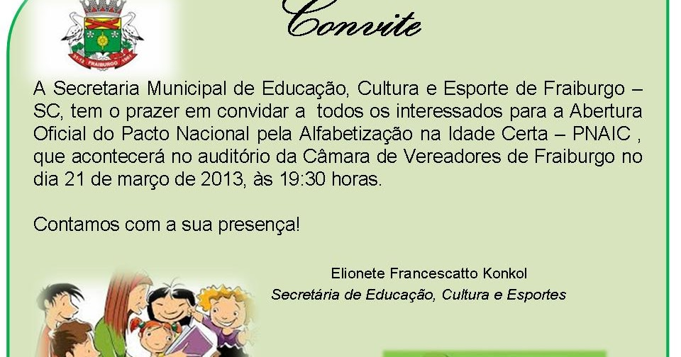 Secretaria Municipal De Educação De Fraiburgo Convite Para