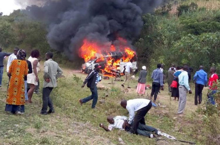 Coffin damaged, one burnt to death as Kenyan mourners encounter road accident