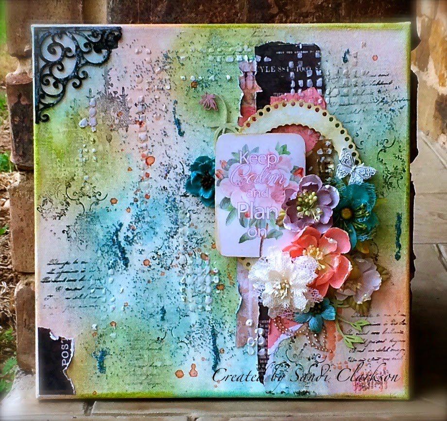 I love doing mixed media canvas projects and creating personal works of art to hang in my craft room as you can see here i had great fun with this one