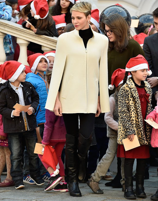 Prince Albert II of Monaco and Princess Charlene of Monaco, Camille Gottlieb and Louis Ducruet attend the Christmas gifts distribution