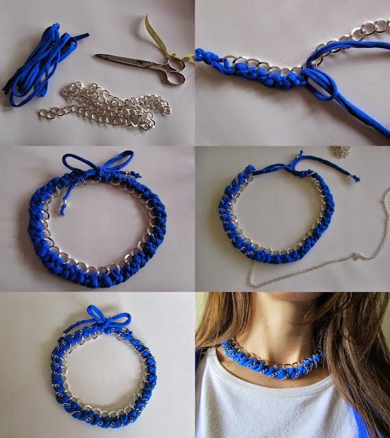 Infografía collar con cadenas y trapillo DIY