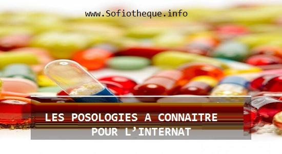 LES POSOLOGIES A CONNAITRE POUR LE CONCOURS DE L'INTERNAT PDF