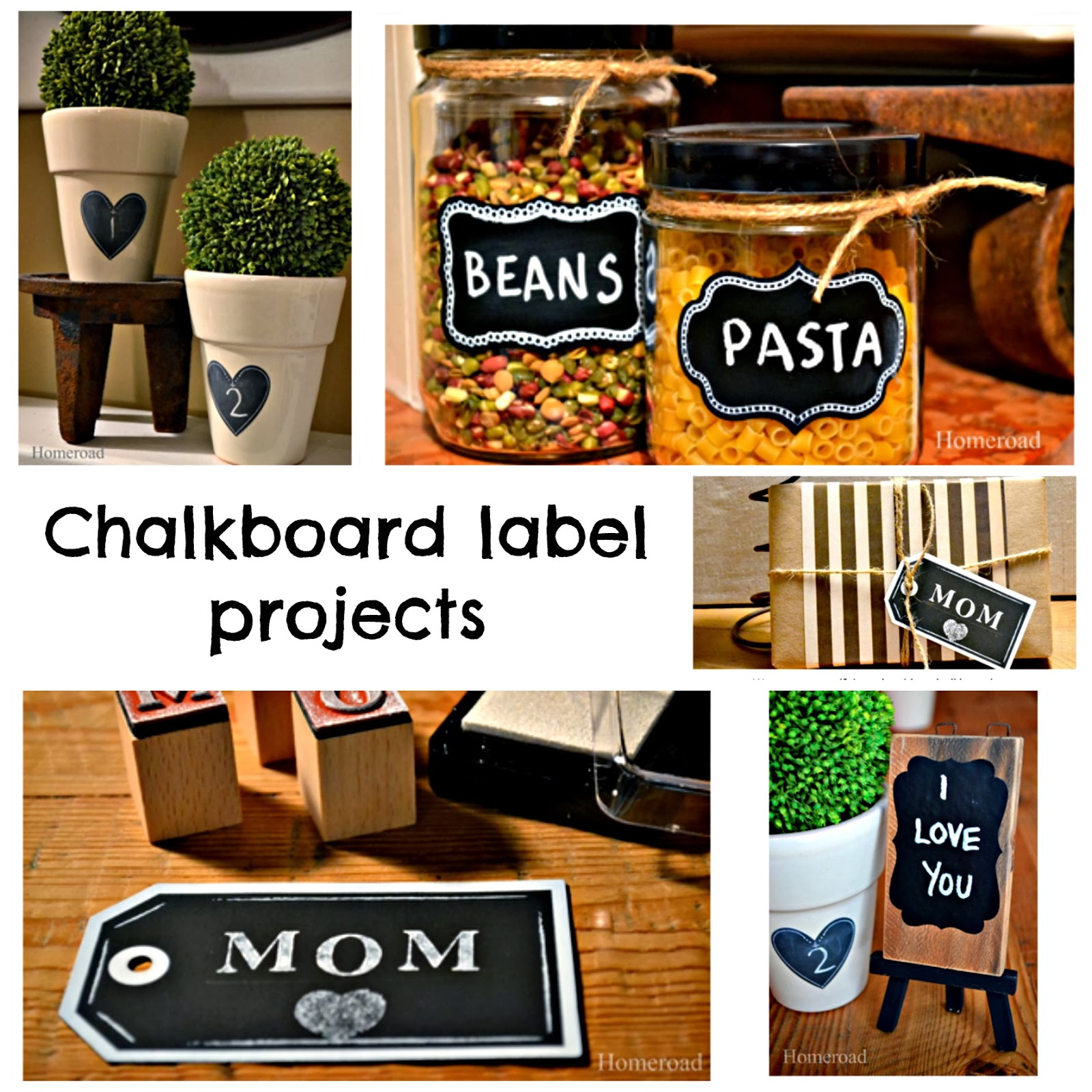 DIY chalkboard labels and banners www.homeroad.net