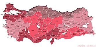 Kırmızı ve pembe tonlarında Türkiye İller ve Bölgeler Haritası