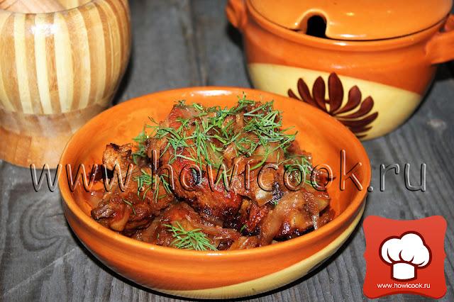 рецепт Тушеные свиные ребрышки с капустой