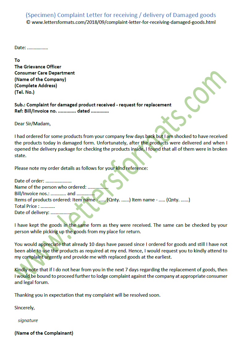 Complaint Letter For Receiving Delivery Of Damaged Goods Sample