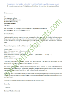 Complaint Letter for Receiving of or Delivery of Damaged Goods