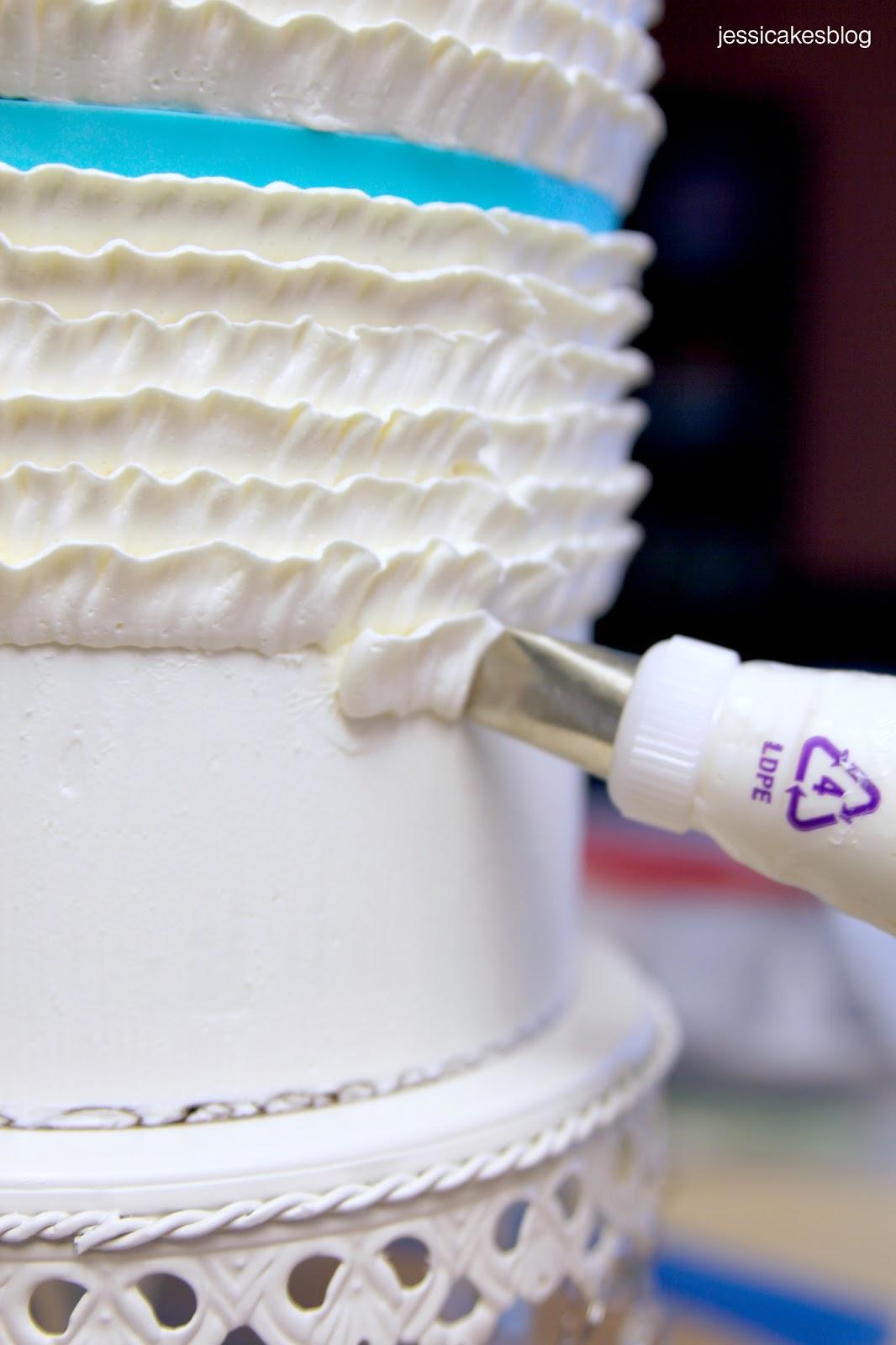 Cake Decorating Ruffle Tips : Buttercream Ruffles Cake Tutorial