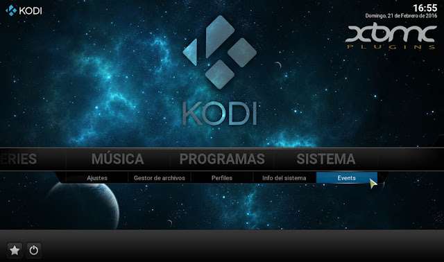 KODI 16 JARVIS Events