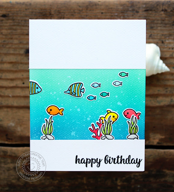 Sunny Studio Stamps: Magical Mermaids and Oceans Of Joy Fish Tank Inspired Card by Vanessa Menhorn