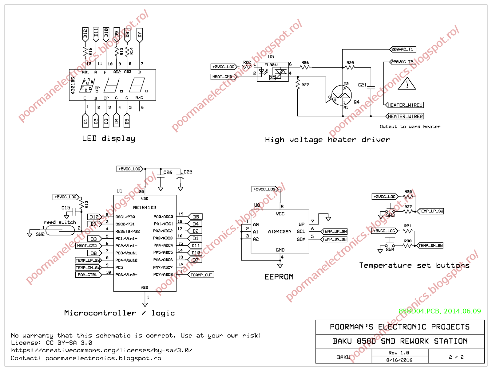 Poorman's Electronic Projects: Schematic and teardown of BAKU 858D on printed circuit board schematics, electronics schematics, engineering schematics,