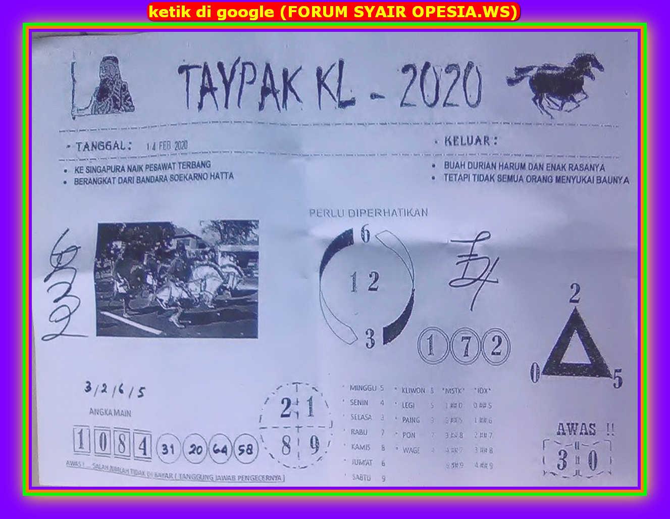 Kode syair Hongkong Jumat 14 Februari 2020 20