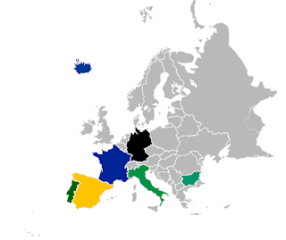 Europe map with highlighted partners: Portugal, Spain, France, Germany, Italy, Bulgaria and Iceland