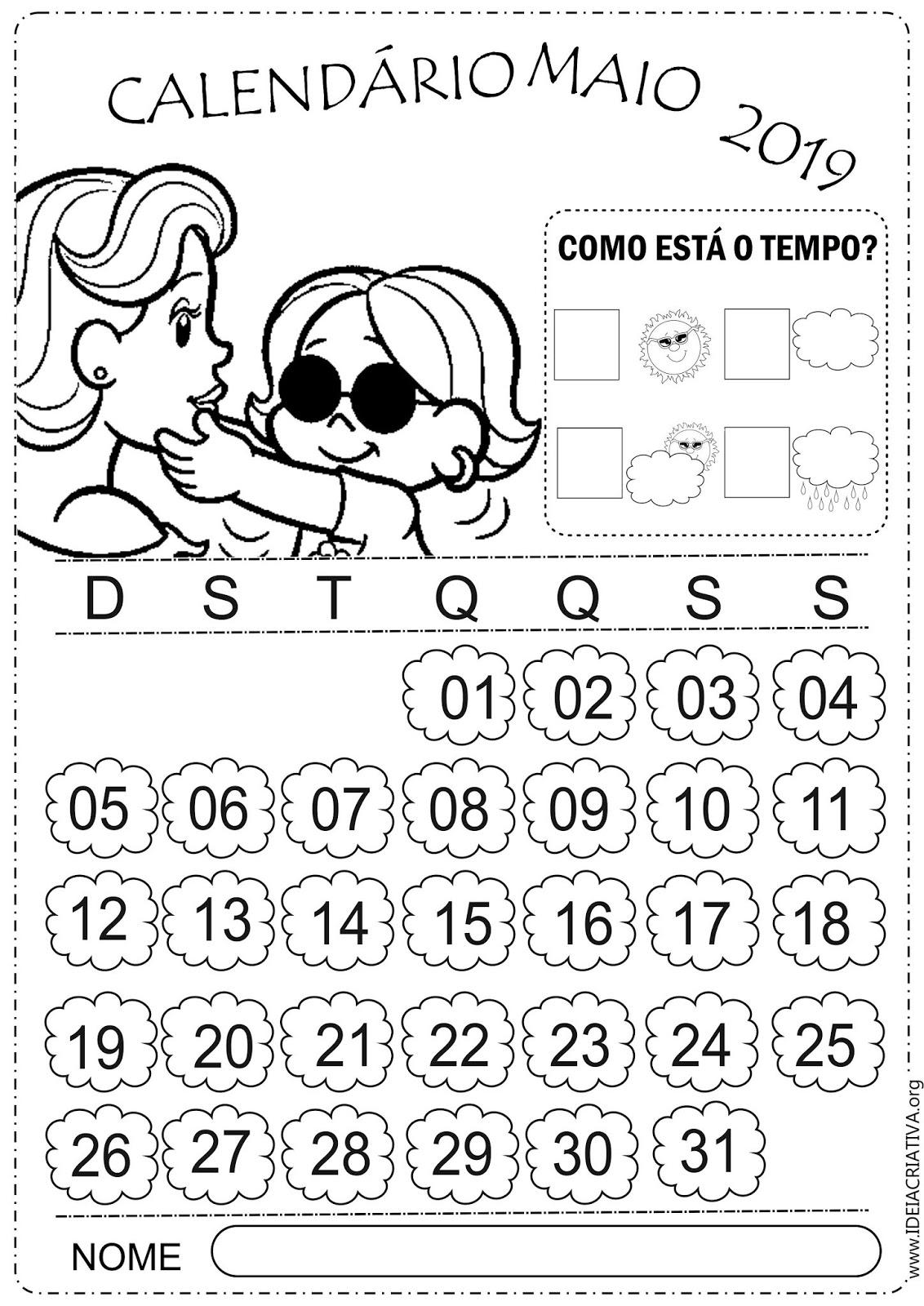Calendarios Escolares Maio Turma Da Monica Para Colorir E Imprimir