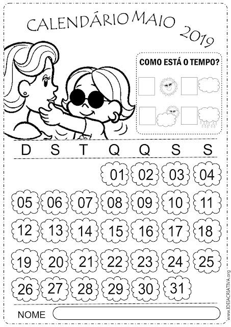 Calendários Maio 2019 Turma da Mônica para imprimir