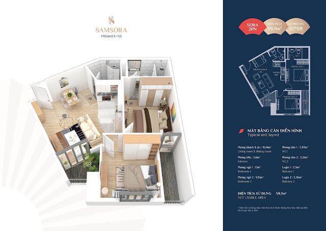Thiết kế căn hộ 07 và 08: Diện tích 59,65m2