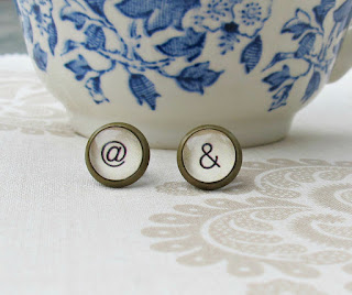 image typography earrings ear studs ampersand at sign symbol two cheeky monkeys jewellery jewelry