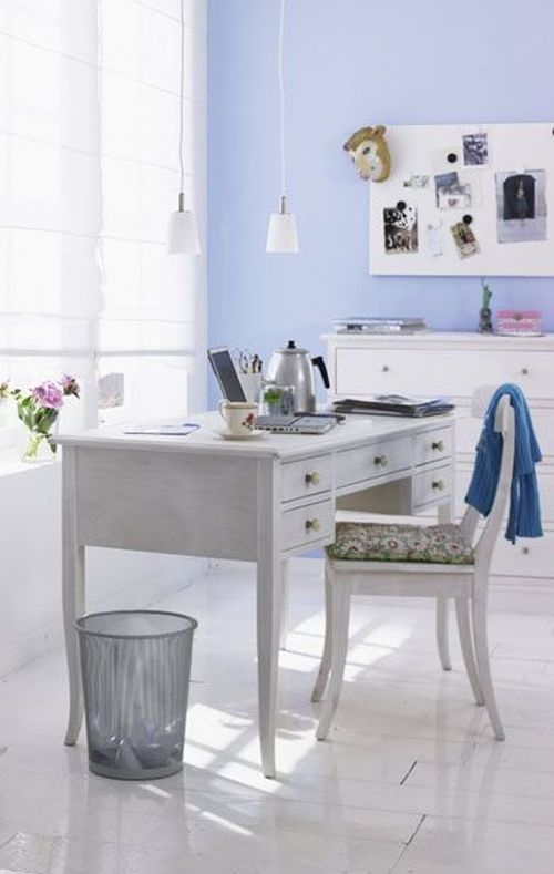 elegant white, grey and blue home office