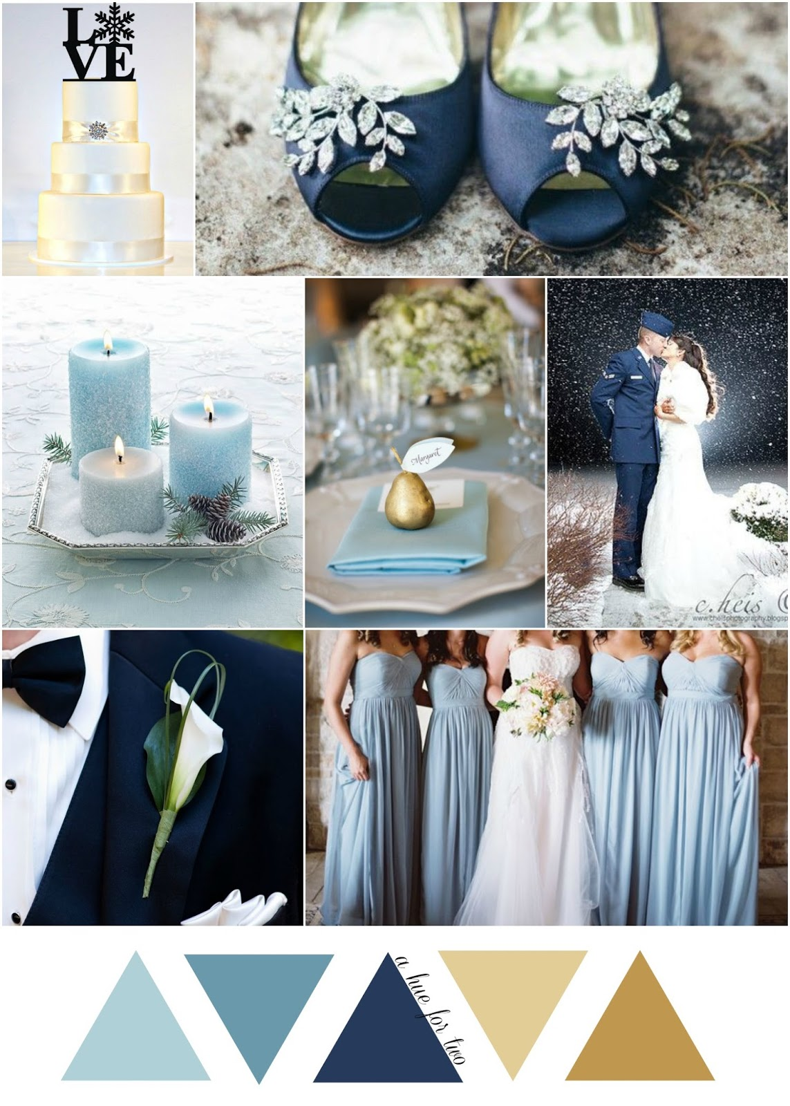 Powder Blue Navy And Gold Cinderella Themed Winter Wedding
