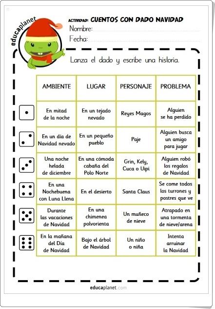 CUENTOS DE NAVIDAD CON DADO (Ficha de Lengua Española de Primaria)