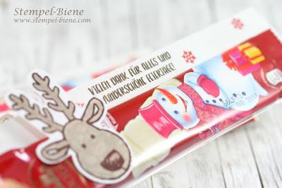stampinup frühjahrskatalog 2017, sale a bration 2017, Schokoladengoodies weihnachten, gebastelte weihnachtsgeschenke, rentierschokolade, stempel-biene