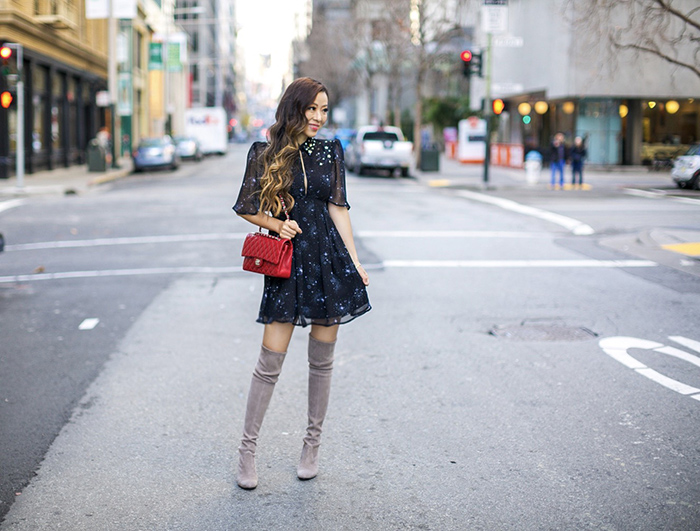 topshop Embellished Star Print Skater Dress, embellished star dress, little black dress, chanel classic flap, baublebar earrings, stuart weitzman highland boots, san francisco fashion blog