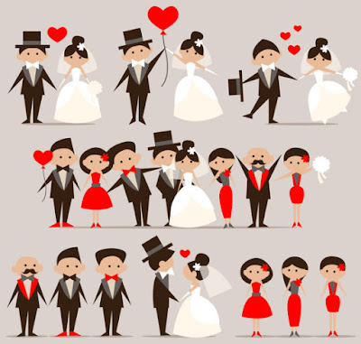 Cartoon Wedding Design Elements Vector Free Download Format CDR, Ai dan Eps