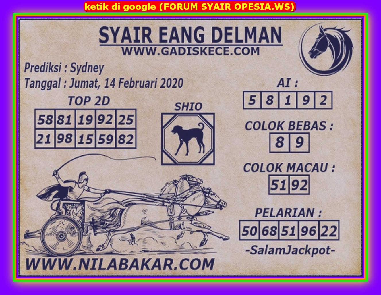 Kode syair Sydney Jumat 14 Februari 2020 53