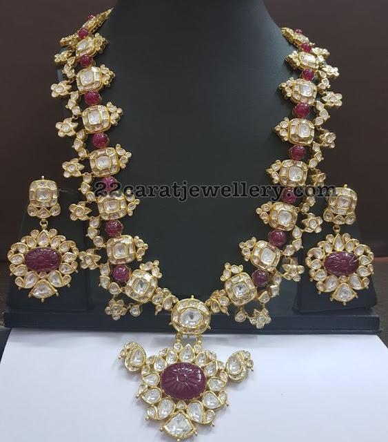 Polki Ruby Haram with Earrings