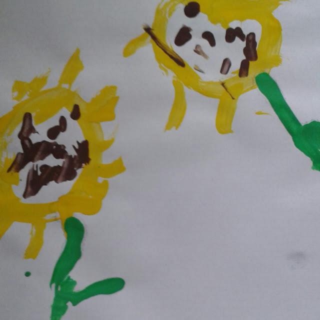 Sunflower toddler craft, still life painting