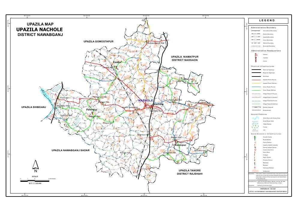Nachole Upazila Map Nawabganj District Bangladesh